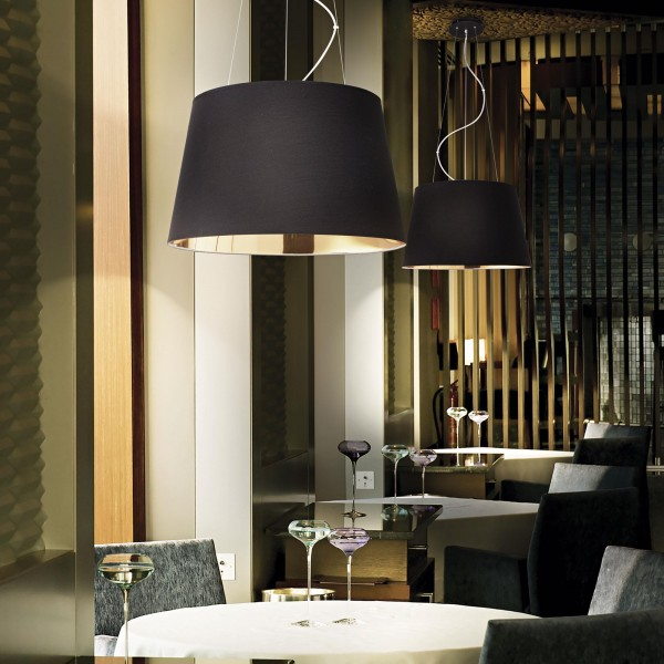 Ideal Lux 161648  Nordik 4 Light Black and Gold Shade Pendant