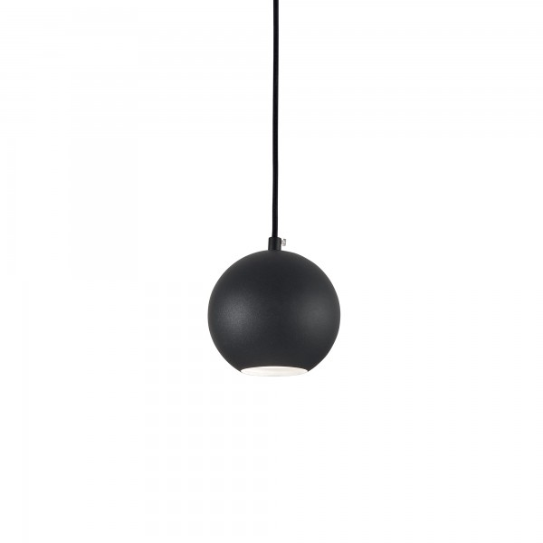 Ideal Lux 231259 Mr Jack SP1 Small Globe Pendant in Black Metal