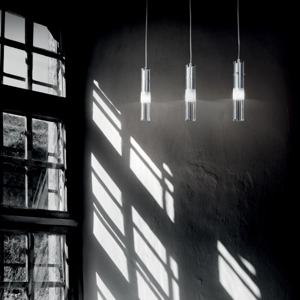 Ideal Lux 089614 Bar SP1 Tubular Glass Pendant with Sandblasted Accent Stripe