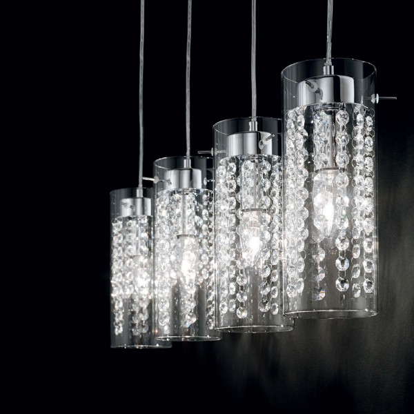 Ideal Lux 052366 Iguazù 3 Light Bar Pendant with Octagonal Crystals and Clear Glass Shade