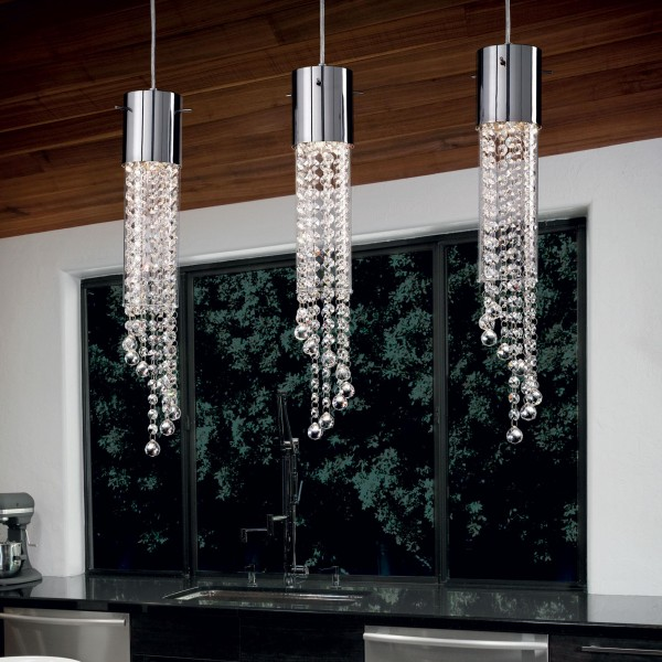 Ideal Lux 089669 Gocce Tubular Pyrex Glass Pendant with Octagonal Cut Crystals