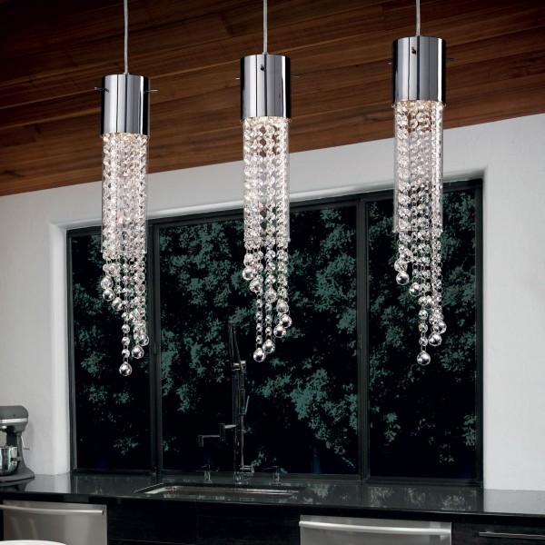 Ideal Lux 091143 Gocce Tubular Pyrex Glass 3 Light Bar Pendant with Octagonal Cut Crystals