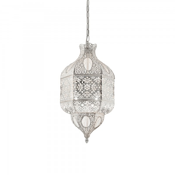 Ideal Lux 141923 Nawa-1 SP3 Openwork Metal Pendant in Silver