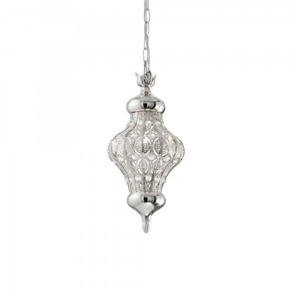Ideal Lux 140827 Nawa-3 SP1 Openwork Metal Pendant in Silver