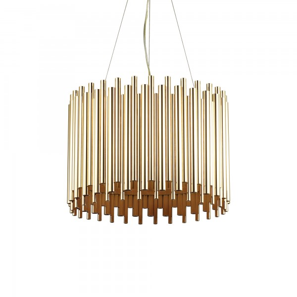 Ideal Lux 208817 Pan SP5 Gold Metal Variegated Tube Pendant