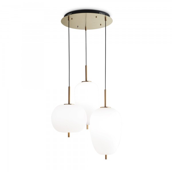 Ideal Lux 224541 Umile 3 Light Glass and Satin Gold Pendant