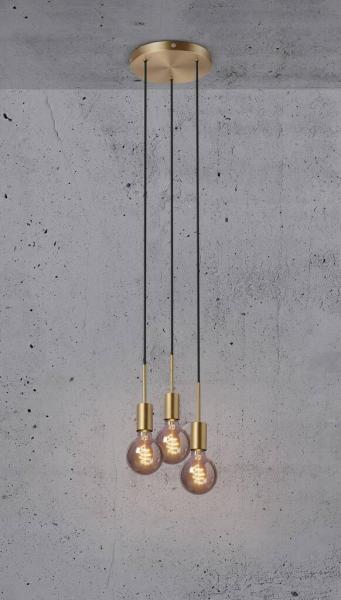 Nordlux 2112063035 Paco 3 Light E27 Pendant in Brass