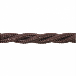 Love4Lighting CABTRE31020 1m Length of Dark Brown Braided Cable