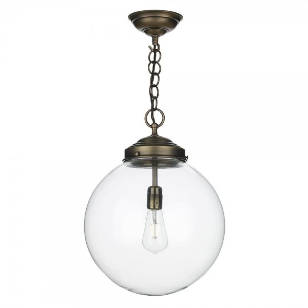 David Hunt FAI8675 Small single pendant in Antique Brass with clear glass