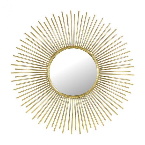 Libra 902571 Spike Round Gold Metal Mirror