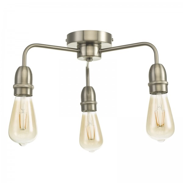 Dar Lighting KIE5346 Kiefer 3-Light Flush in Satin Chrome
