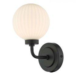 Dar Lighting ALR0722 Alrik Bathroom Wall Light Matt Black Opal Glass IP44