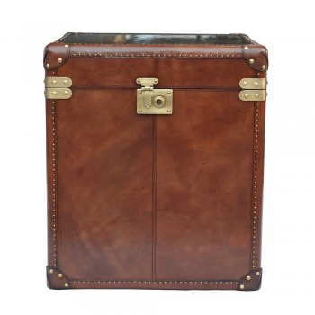 Culinary Concepts CC-2164-COGN Panama Cognac Leather Large Side Trunk with Brass