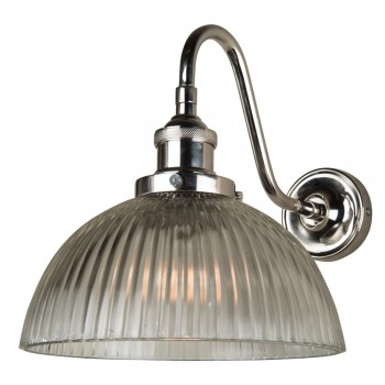 Culinary Concepts CVNK-GDM-RIB Polished Nickel Curved Fitment With Ribbed Dome Shade