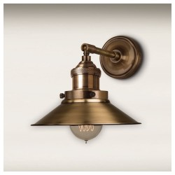 Culinary Concepts STBR-MSML-BRS Antique Brass Straight Fitment With Small Antique Brass Metal Triangular Shade