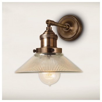 Culinary Concepts STBR-SML-RIB Antique Brass Straight Fitment With Small Ribbed Triangular Shade