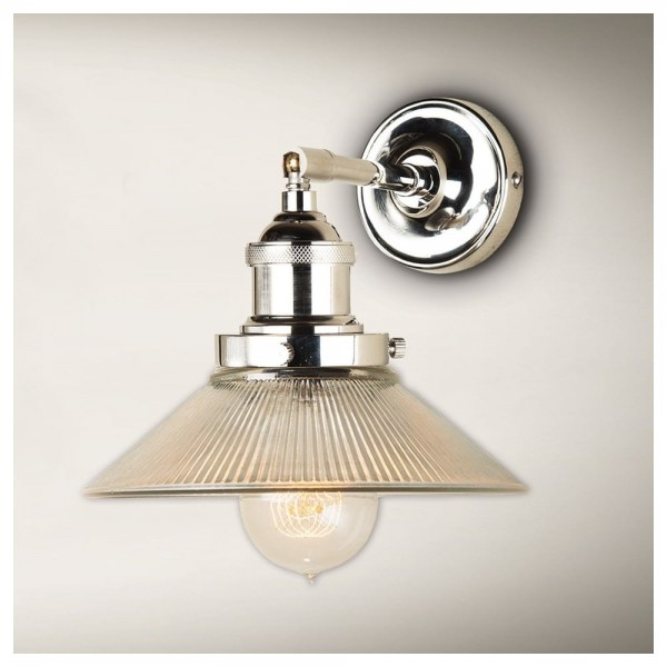 Culinary Concepts STNK-SML-RIB Polished Nickel Straight Fitment With Small Ribbed Triangular Shade