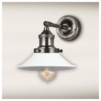 Culinary Concepts STSL-MSML-OW Antique Silver Straight Fitment With Small Off-White Metal Triangular Shade