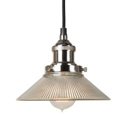 Culinary Concepts HNK-SML-RIB Polished Nickel Pendant Fitment With Small Ribbed Triangular Shade