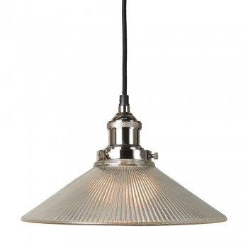 Culinary Concepts HNK-LGE-RIB Polished Nickel Pendant Fitment With Large Ribbed Triangular Shade