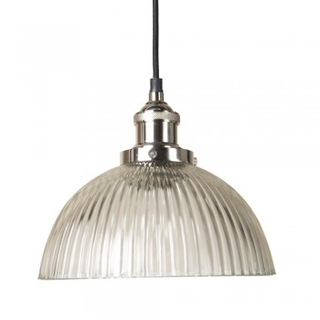 Culinary Concepts HNK-GDM-RIB Polished Nickel Pendant Fitment With Ribbed Dome Shade