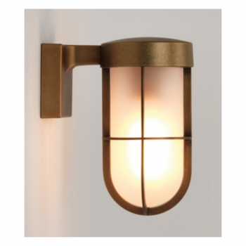 Astro Lighting 1368008 Antique Brass Frosted Glass Cabin Wall Light