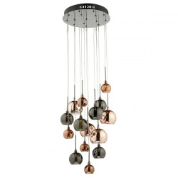 Dar Lighting AUR1564 Aurelia 15 Light G4 Spiral Pendant with Copper, Dark Copper & Bronze Glass, Black Ch...