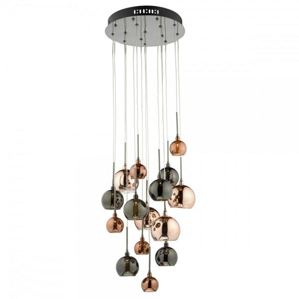 Dar Lighting AUR1564 Aurelia 15 Light G4 Spiral Pendant with Copper, Dark Copper & Bronze Glass, Black Chrome Ceiling Plate