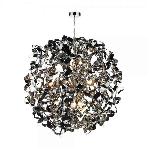 Dar PUC0850 Puccini 8 Light Pendant Polished Chrome