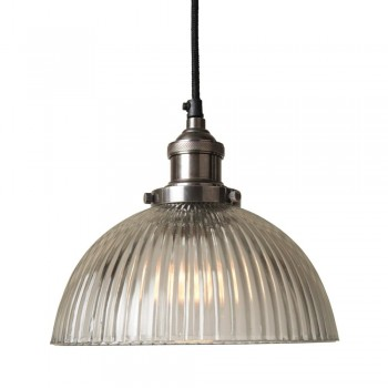 Culinary Concepts HSL-GDM-RIB Antique Silver Pendant Fitment With Ribbed Dome Shade