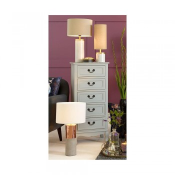 Pacific Lifestyle 30-242-K Metal & Concrete Lamp with Handloom White Shade