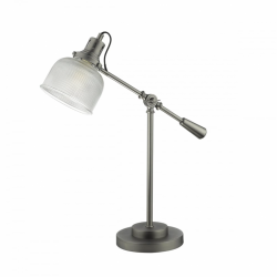 Dar Lighting TAC4261 Tack Table Lamp Industrial Nickel and Decorative Glass