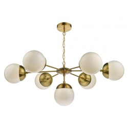Dar Lighting BOM3435 Bombazine 7-Light Pendant Natural Brass & White Opal Glass