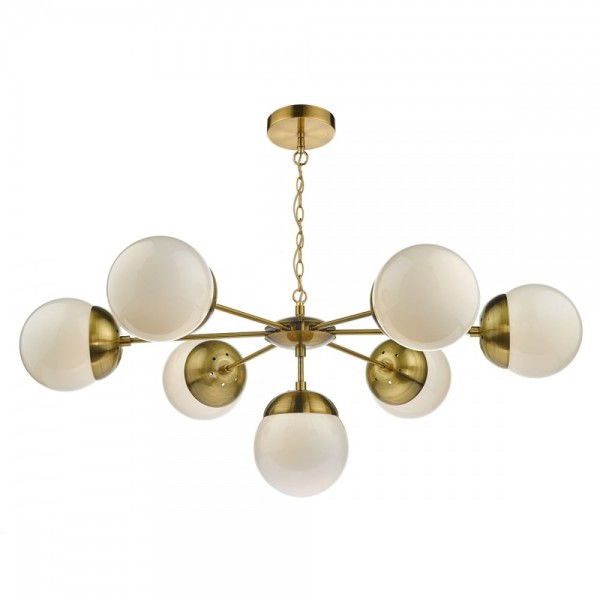 Dar Lighting BOM3435 Bombazine 7-Light Pendant Natural Brass & White Opal Glass