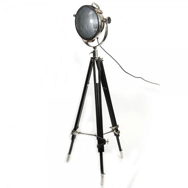 Culinary Concepts CC-2489-PNBW Rolls Headlamp Floor Lamp With Black Wood Tripod