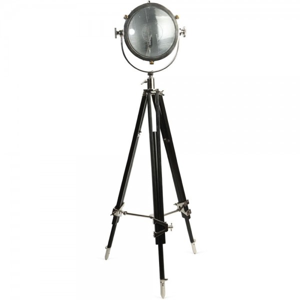 Culinary Concepts CC-2489-PNBW Rolls Headlamp Floor Lamp With Black Wood Tripod