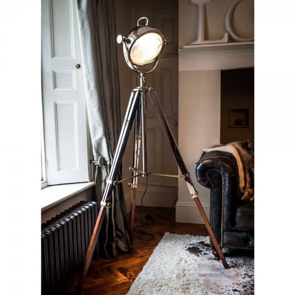 Love4Lighting CC-2489-PN Rolls Headlamp Floor Lamp With Polished Nickel & Wood Tripod