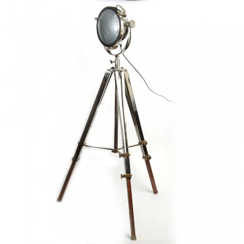 Love4Lighting CC-2489-PN Rolls Headlamp Floor Lamp With Polished Nickel & Wood Tripod