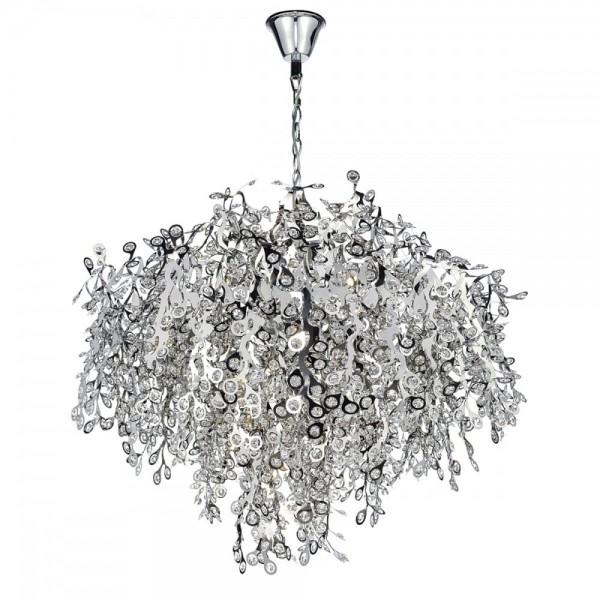 Dar Lighting KON1750 Konstantina 13LT G9 Luxury Polished Chrome & Crystal Bead Centre Piece