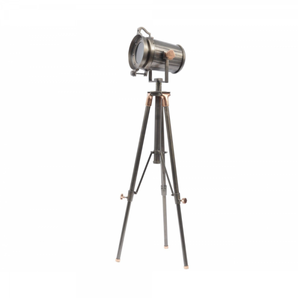 Libra 700124 Charlie Copper and Satin Grey Tripod Floor Lamp