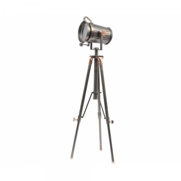 Libra 700124 Charlie Copper and Satin Grey Tripod Floor Lamp