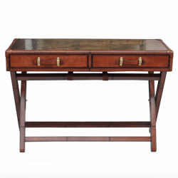 Culinary Concepts CC-2168TBL-COGN Panama Cigar Leather Console Table with Brass Top