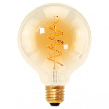 Segula 50536 Design Line 4W 2000K Dimmable E27 Golden Globe 95 LED Bulb with Curved Spiral Filament