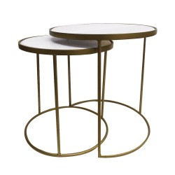 Culinary Concepts 7120AB-SL2 Set Of Small And Large Marble Topped Nest Tables