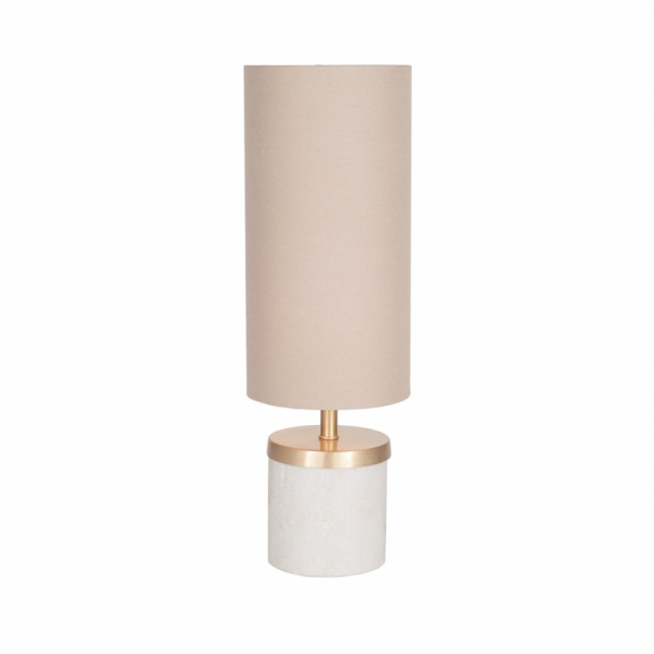 Pacific Lifestyle 30-235-C Short Marble Table Lamp with Taupe Handloom Shade