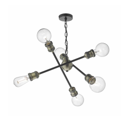 Dar BRI0654 Brigade 6lt Pendant Black & Antique Brass