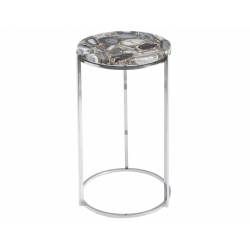 Libra 700463 Agate Round Side Table On Nickel Frame