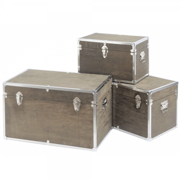 Libra 700958 Finchley Set of 3 Wood and Metal Trunks