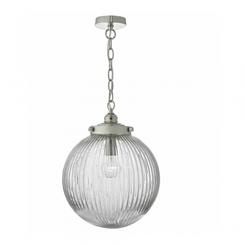 Dar Lighting TAM0138 Tamara 1lt Pendant Satin Nickel & Ribbed Glass
