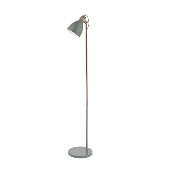 Dar Lighting FRE4939 Frederick Gloss Grey/Copper Floor Lamp